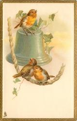 two birds on rope, another on single bell above