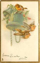 two robins fly right, another on bell above