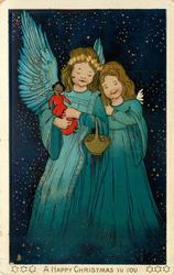 A HAPPY CHRISTMAS TO YOU  two angels one with basket, other holds black doll