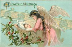 CHRISTMAS GREETINGS  angel watches over child asleep in bed facing right, holly lower left
