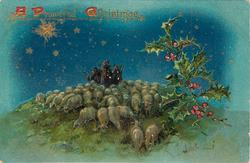 A PEACEFUL CHRISTMAS  three shepherds on top of hill surrounded by sheep, gold star upper left