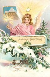 A MERRY CHRISTMAS,  angel holds candle in right hand, house above candle, another below