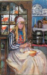 A DUTCH GIRL  she sits facing right, peeling something with knife in hand