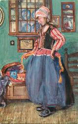 SUNDAY TOILET  Dutch girl facing left, right hand holds apron string, blue dishes by her head