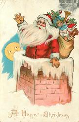 A HAPPY CHRISTMAS  Santa goes down chimney with sack of toys