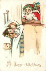A HAPPY CHRISTMAS  Santa looks through window at children in bed
