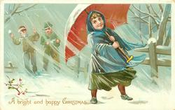 A BRIGHT AND HAPPY CHRISTMAS  two boys about to throw snowball at girl with red-lined umbrella