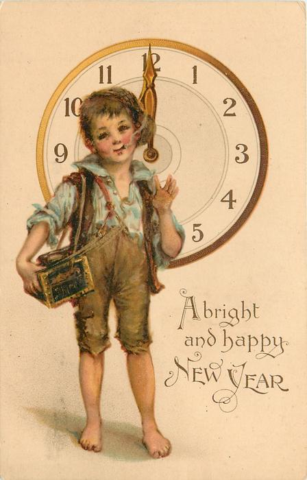 A BRIGHT AND HAPPY NEW YEAR  urchin stands smoking in front of clock at 12 o'clock  image^^