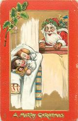 A MERRY CHRISTMAS  children in bed, santa looks in window, red borders