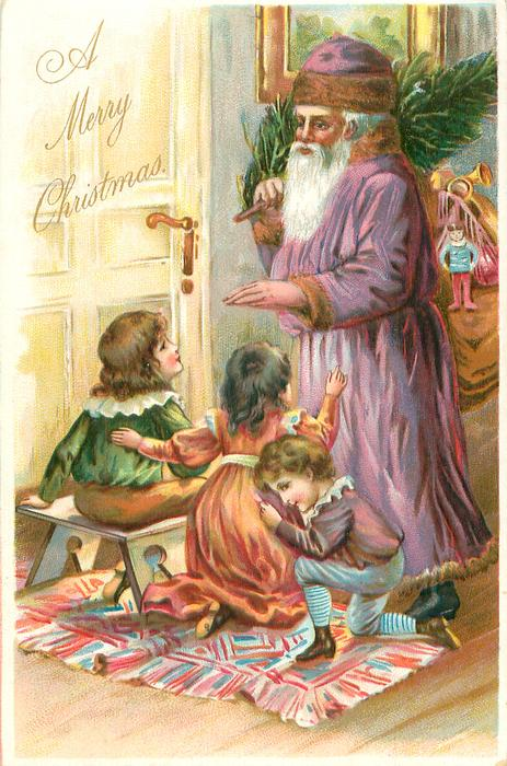 A MERRY CHRISTMAS three children sit & kneel before purple robed Santa carrying tree & toys