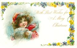 WITH  BEST WISHES FOR A MERRY CHRISTMAS head & shoulders of girl in red with white mittens