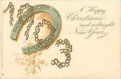 A HAPPY CHRISTMAS AND A BRIGHT NEW YEAR  gilt 1903 over horseshoe