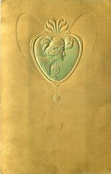 head & neck pose in heart shaped medallion, she faces right with hair secured front & back, prominent ear ornament