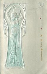 full length Egyptian pose in narrow inset panel left, she faces front looking right over her shoulder, water-jar held by upraised hands, breasts exposed