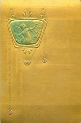 upright pose in squat medallion at top of card, she faces right playing badminton