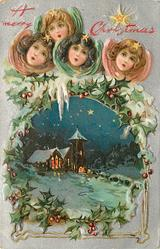 A MERRY CHRISTMAS  four angel heads at top, church with lights in windows below