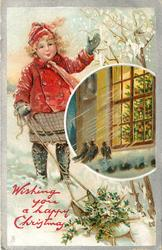 WISHING YOU A HAPPY CHRISTMAS  girl in red waves, holly on sled below, insert of tree in window