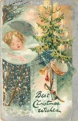 BEST CHRISTMAS WISHES  lighted tree with toys right, inset of sleeping child left, falling snow