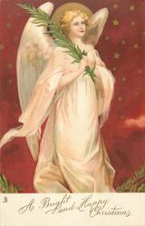 A BRIGHT AND HAPPY CHRISTMAS  angel holds palm front facing right, starry background