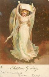 CHRISTMAS GREETINGS  angel holds scroll over her head, starry background
