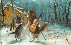 MERRY CHRISTMAS GREETINGS  boy and girl cat walking in the moonlight, he has violin on his back
