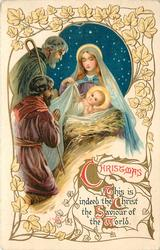 CHRISTMAS  THIS IS INDEED THE CHRIST THE SAVIOUR OF THE WORLD  two shepherds adore jesus