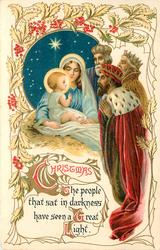 CHRISTMAS  THE PEOPLE THAT SAT IN DARKNESS HAVE SEEN A GREAT LIGHT 3 kings adore Jesus