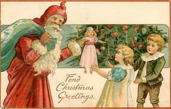 FOND CHRISTMAS GREETINGS  Santa gives doll to girl, boy & tree behind