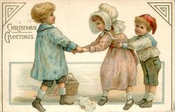CHRISTMAS GREETING  three children play