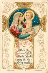 CHRISTMAS, BEHOLD THE LAMB OF GOD WHICH TAKETH AWAY THE SIN OF THE WORLD insert of Madonna & Child
