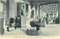 EGYPTIAN CENTRAL SALOON.  SHOWING FIST OF ONE OF THE COLOSSI; HEAD OF RAMESES II, THE UPPER PART OF STATUE OF RAMESES II, AND CAST OF A HYKSOS SPHINX