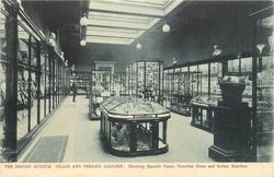 GLASS AND CERAMIC GALLERY. SHOWING SPANISH VASES, VENETIAN GLASS AND ITALIAN MAJOLICA