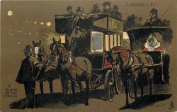 A BLOCK IN THE STRAND  policeman holds up horse-drawn coaches