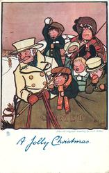 A JOLLY CHRISTMAS  coachman & five passengers on top of coach COMET