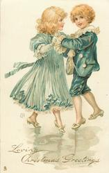 LOVING CHRISTMAS GREETINGS  boy in blue suit dances with girl in pale blue dress
