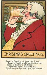 CHRISTMAS GREETINGS  coachman drinking glass of ale held in right hand, faces left