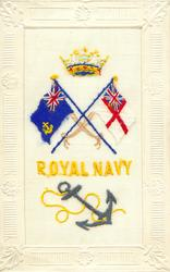 ROYAL NAVY  anchor, crown, white and blue ensigns