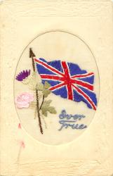 EVER TRUE  Union Jack with flowers, oval frame