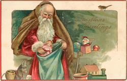 CHRISTMAS GREETINGS  Santa puts doll in sack, other presents around
