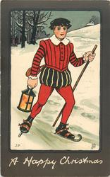 A HAPPY CHRISTMAS  boy skating carrying lamp