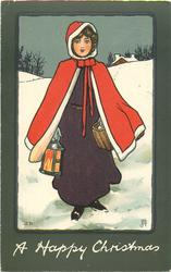 A HAPPY CHRISTMAS  girl carrying lamp & basket