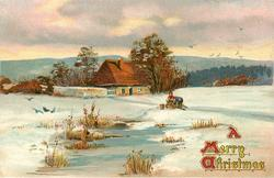 A MERRY CHRISTMAS  snow scene, two people, one bending over, in front of house, ice lower centre, distant birds