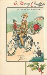 A MERRY CHRISTMAS, THE GIRL HE LEFT BEHIND HIM  cyclists, girl behind falls, dog & boy observe