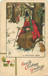 HEARTY CHRISTMAS GREETINGS, A WOODLAND FAIRY  witch with black cat