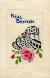 REAL BRITISH  silk with pink/red rose under tank