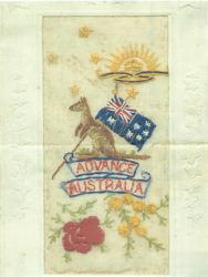 ADVANCE AUSTRALIA  silk gold kangaroo holds Australian flag, red & yellow flowers below, half sun above
