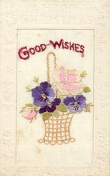 A HAPPY CHRISTMAS  silk GOOD WISHES wicker basket of flowers, 2 roses & 3 pansies