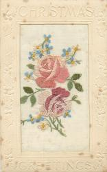 CHRISTMAS GREETINGS  silk two pink roses & forget me nots around