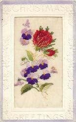 CHRISTMAS GREETINGS  silk two red flowers & three violets above, violets below