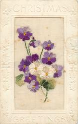 CHRISTMAS GREETINGS  silk white & purple violets